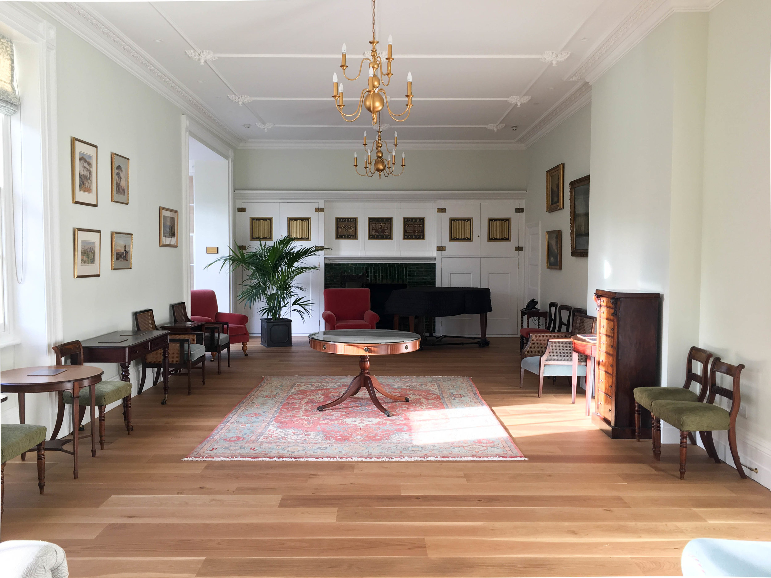 Mary Somerville Room, looking north. New ceiling by Cliveden Conservation