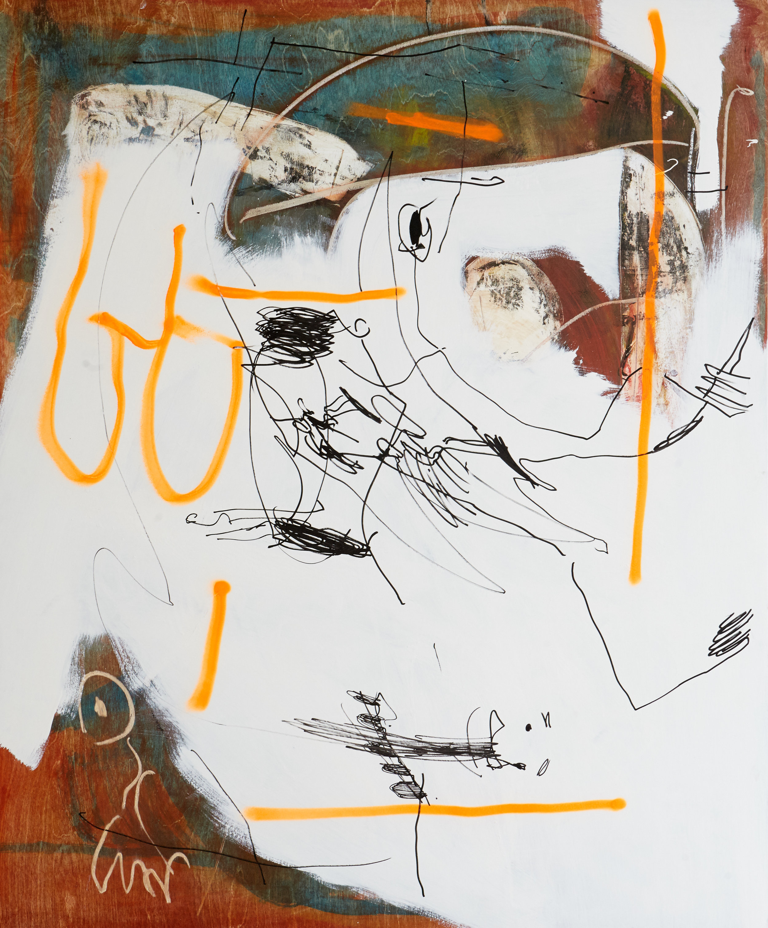 Arthur Lanyon     'Copper Keat'  2016 , Oil, acrylic, gouache, spray paint on panel, 147cm x 142cm