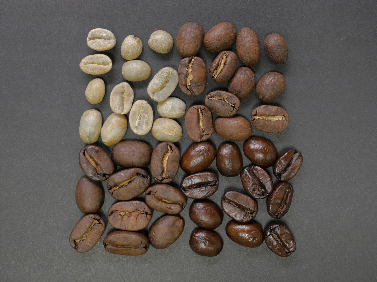 Roasted coffee beans - 4 levels of roasting