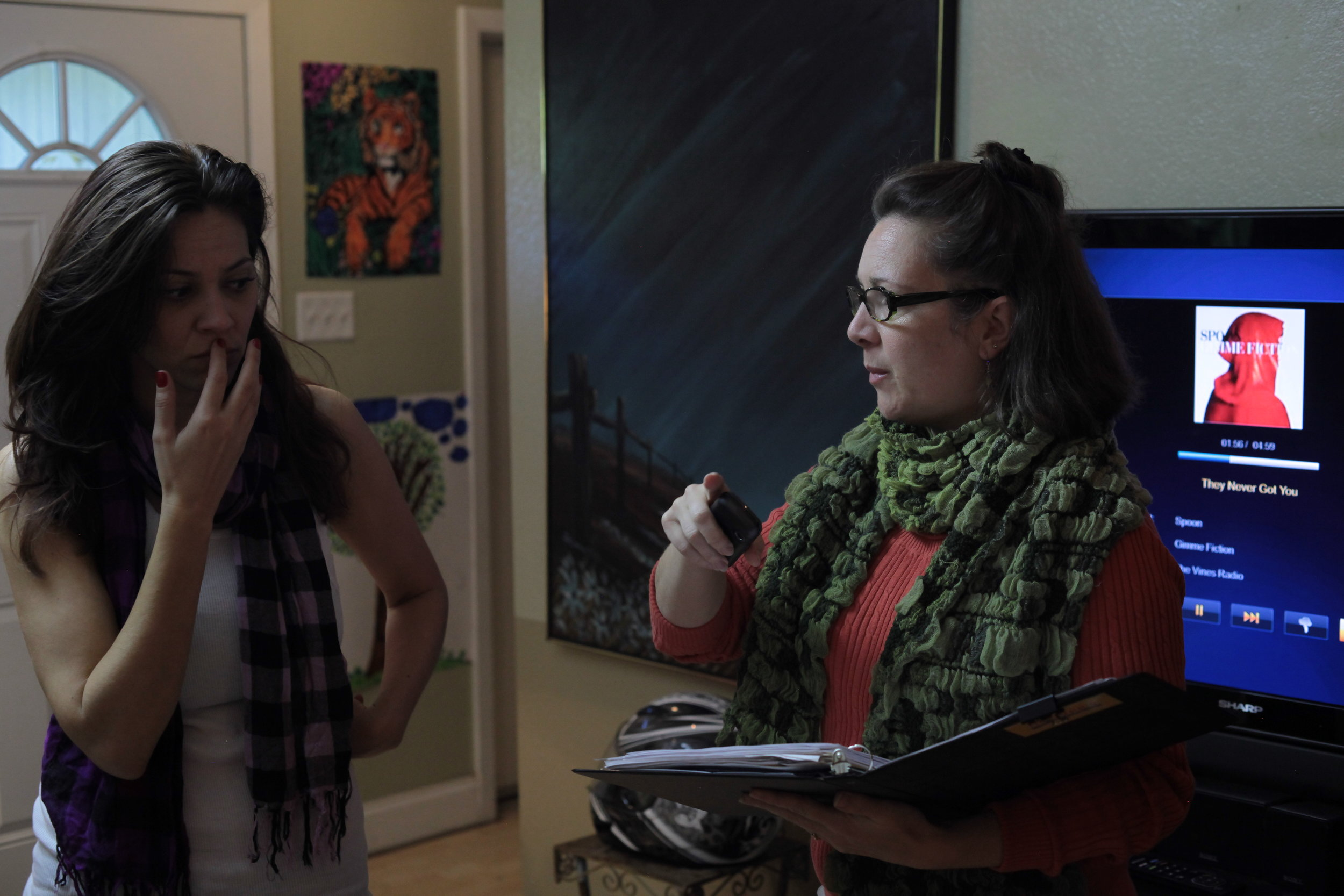 Lorie Marsh (right) conferring on set with filmmaker, Jentri Quinn.