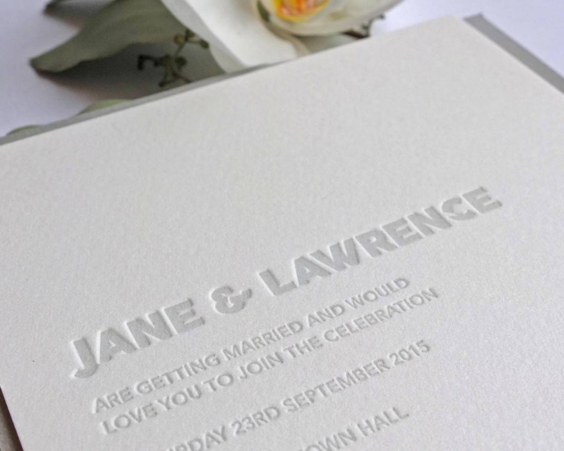Letterpress Invitation Detail