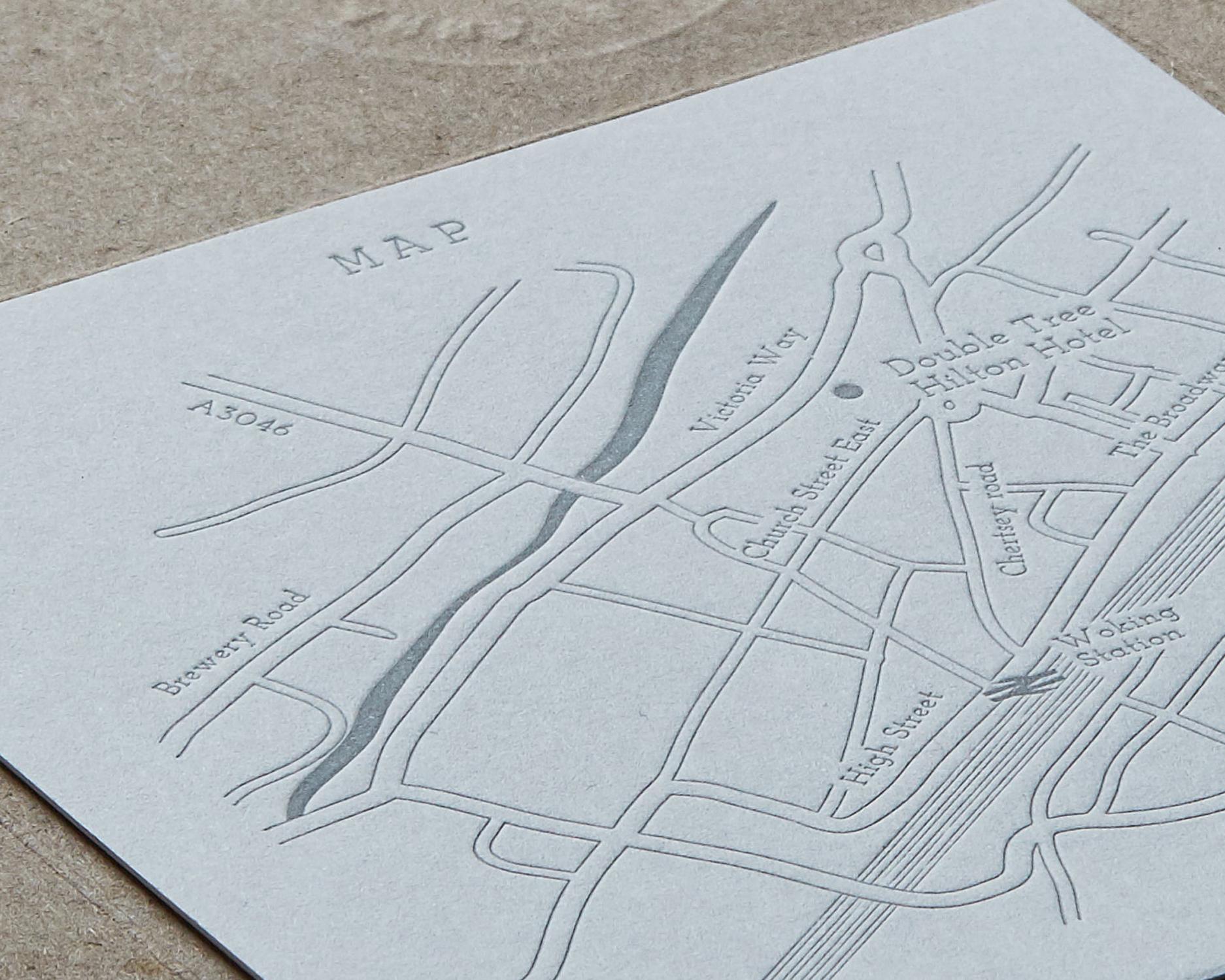 Letterpress Map Card