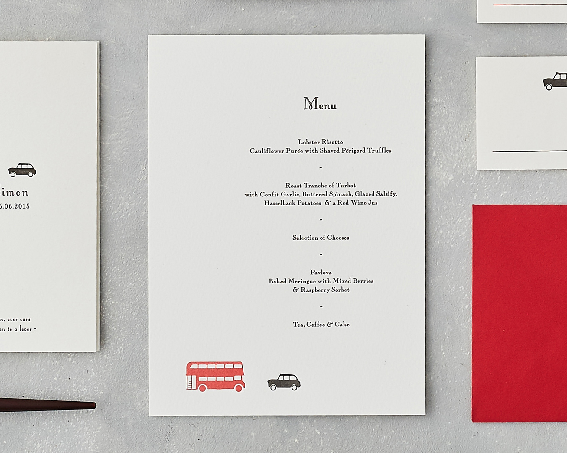 London Wedding Menu