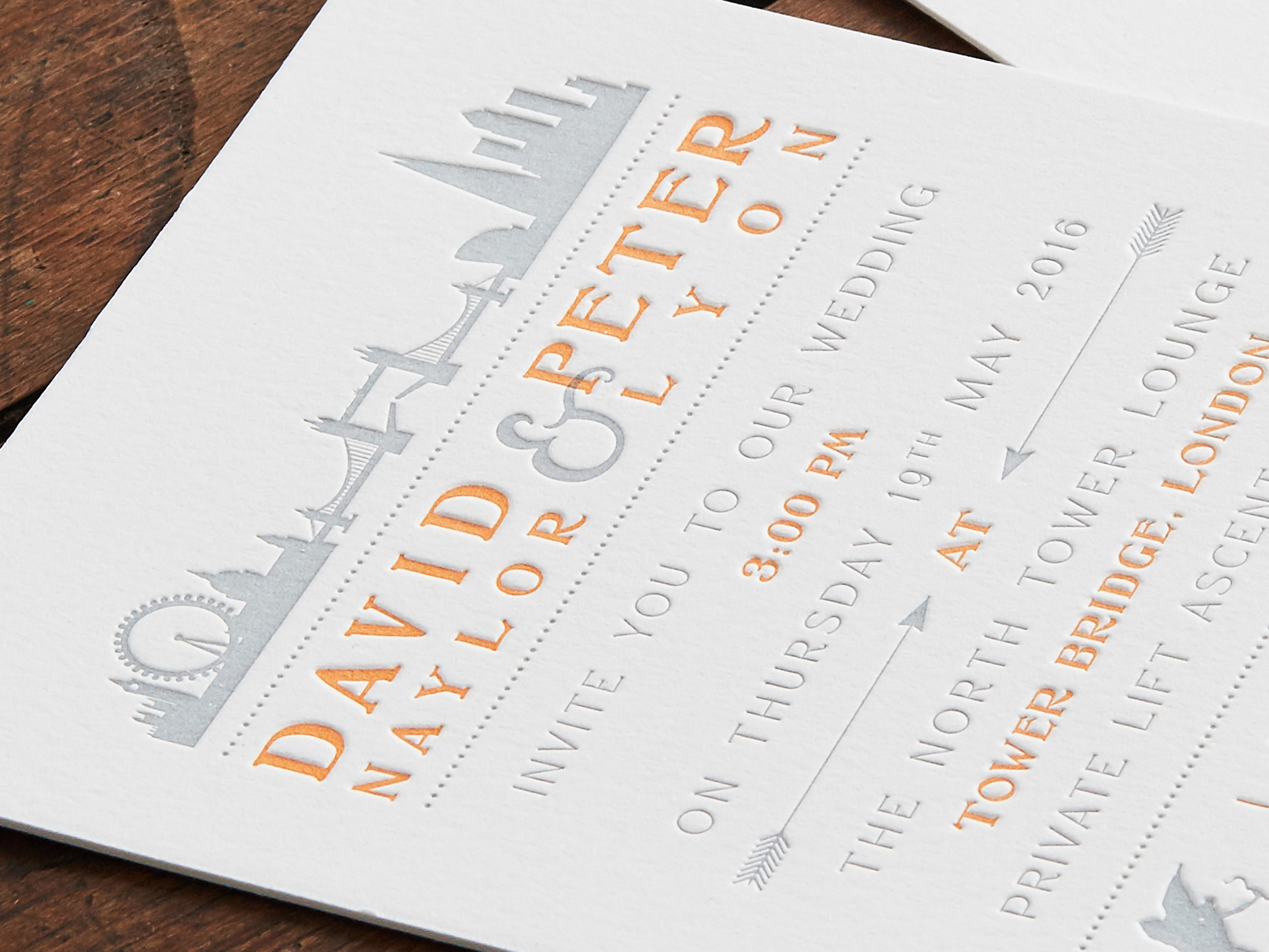 London Bridge Theme Wedding Invitation & Save the date | Grey & Orange Letterpress print