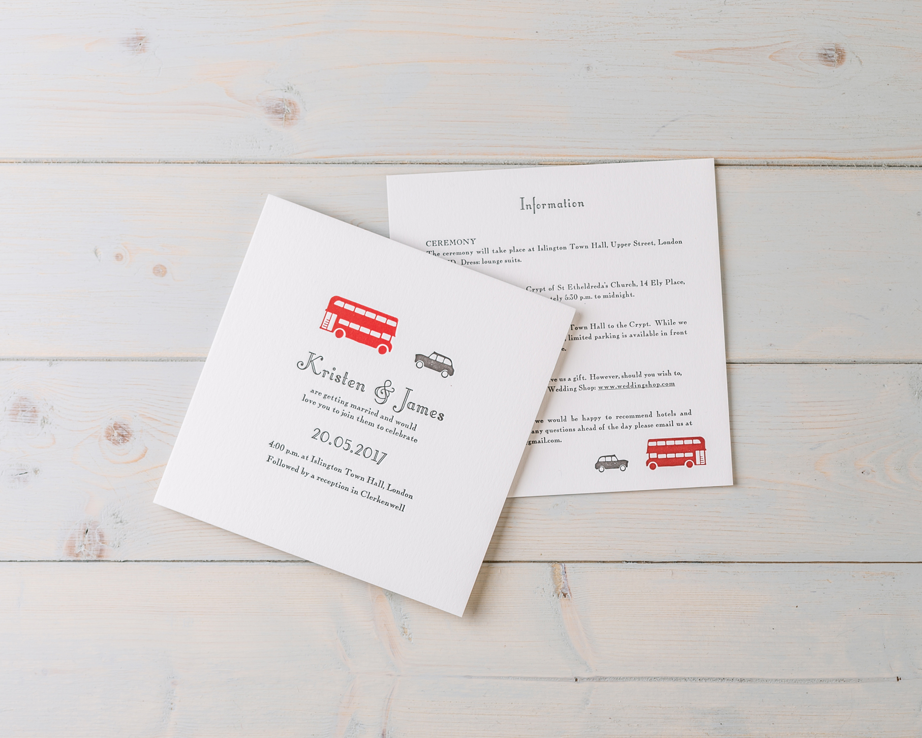 London Wedding Invitation set