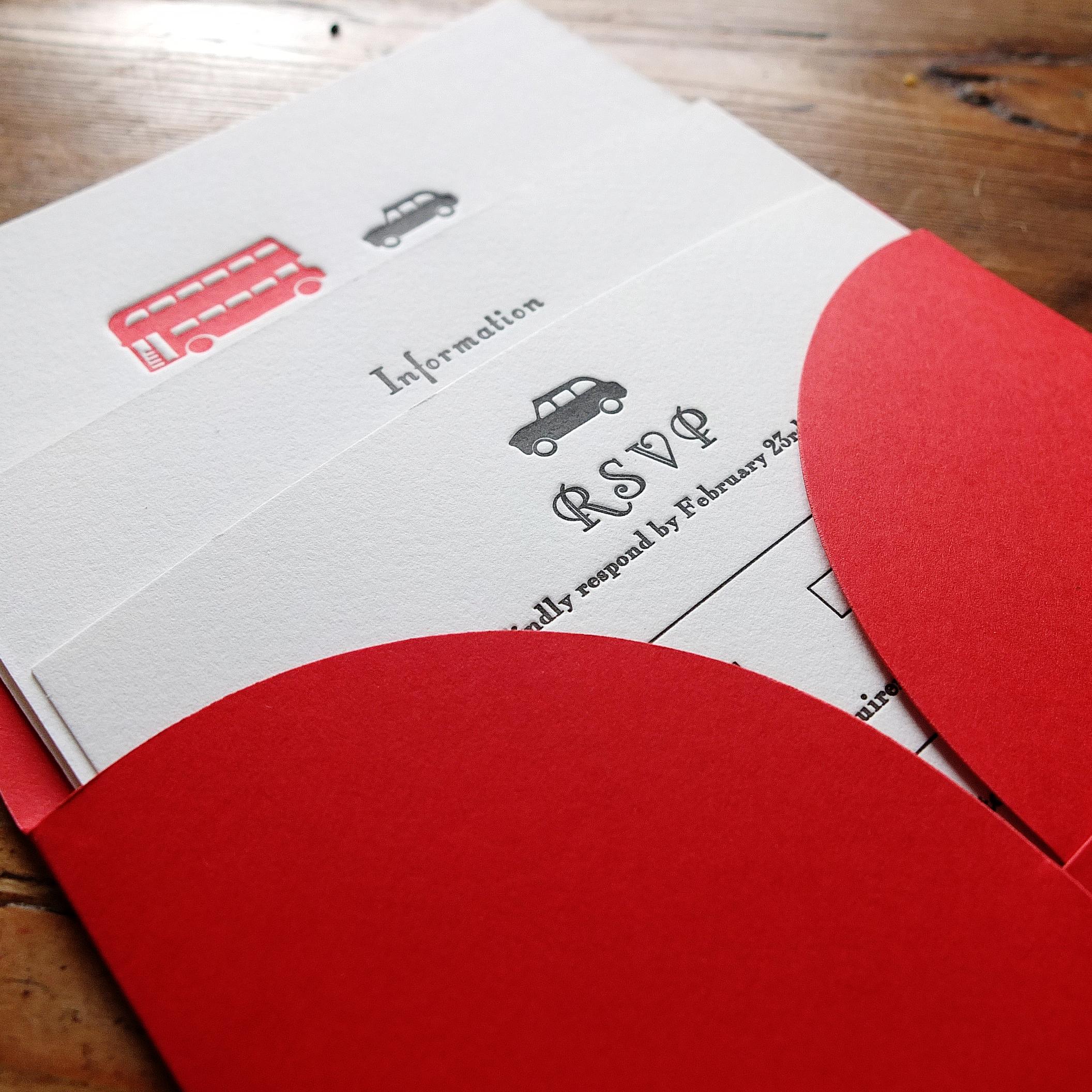 London Themed Invitation with Folding Pocket Envelope.