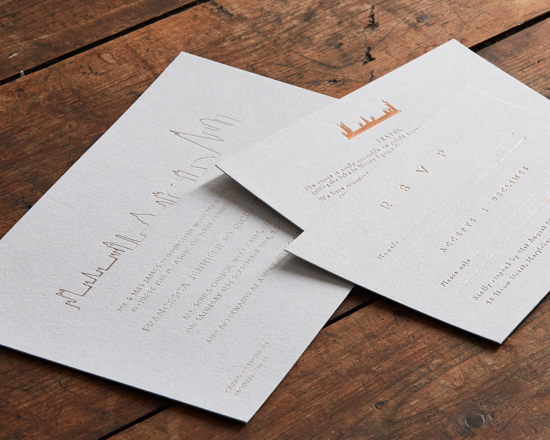 Copper Foil Invitation Set