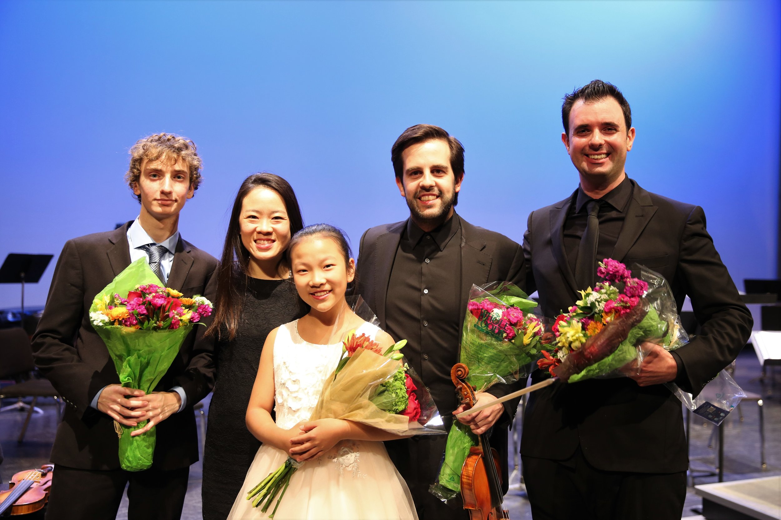 CCMF 2018 Concerto Competition winners Noah Kublank (Violin) and Clara Zhang (Piano), with CCMF Directors Dr. Susan Tang and Dr. Jaime Gorgojo and NEIU Conductor, Ben Firer