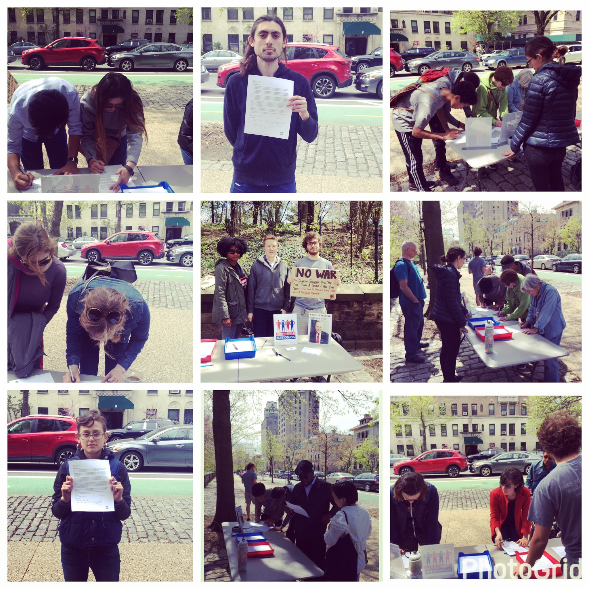 Tabling in front of Senator Schumer's Brooklyn apartment building