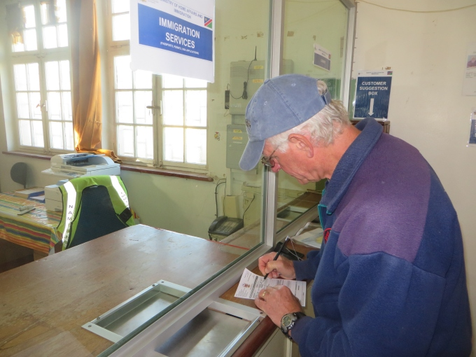 filling our immigration forms in namibia