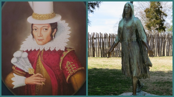 The only known image of Pocahontas and her statue at Historic Jamestowne.