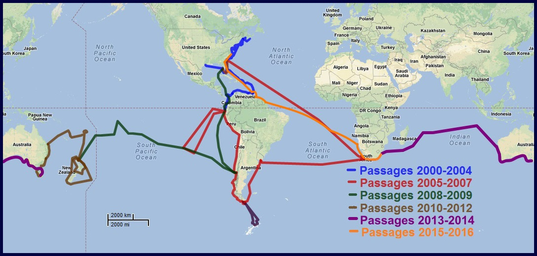 Slow travel is easy on a sailboat. Here are our passage routes from 2000-2018.