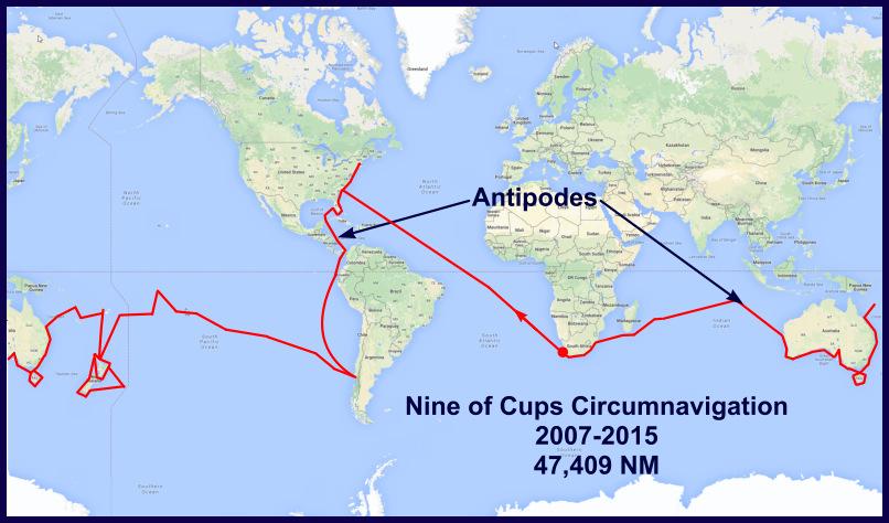 Nine of cups' circumnavigation
