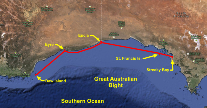 Nine of cups' route across the bight