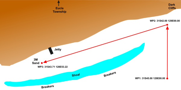 Chartlet into eucla anchorage