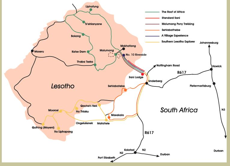 Tiny landlocked Lesotho is totally surrounded by South Africa.