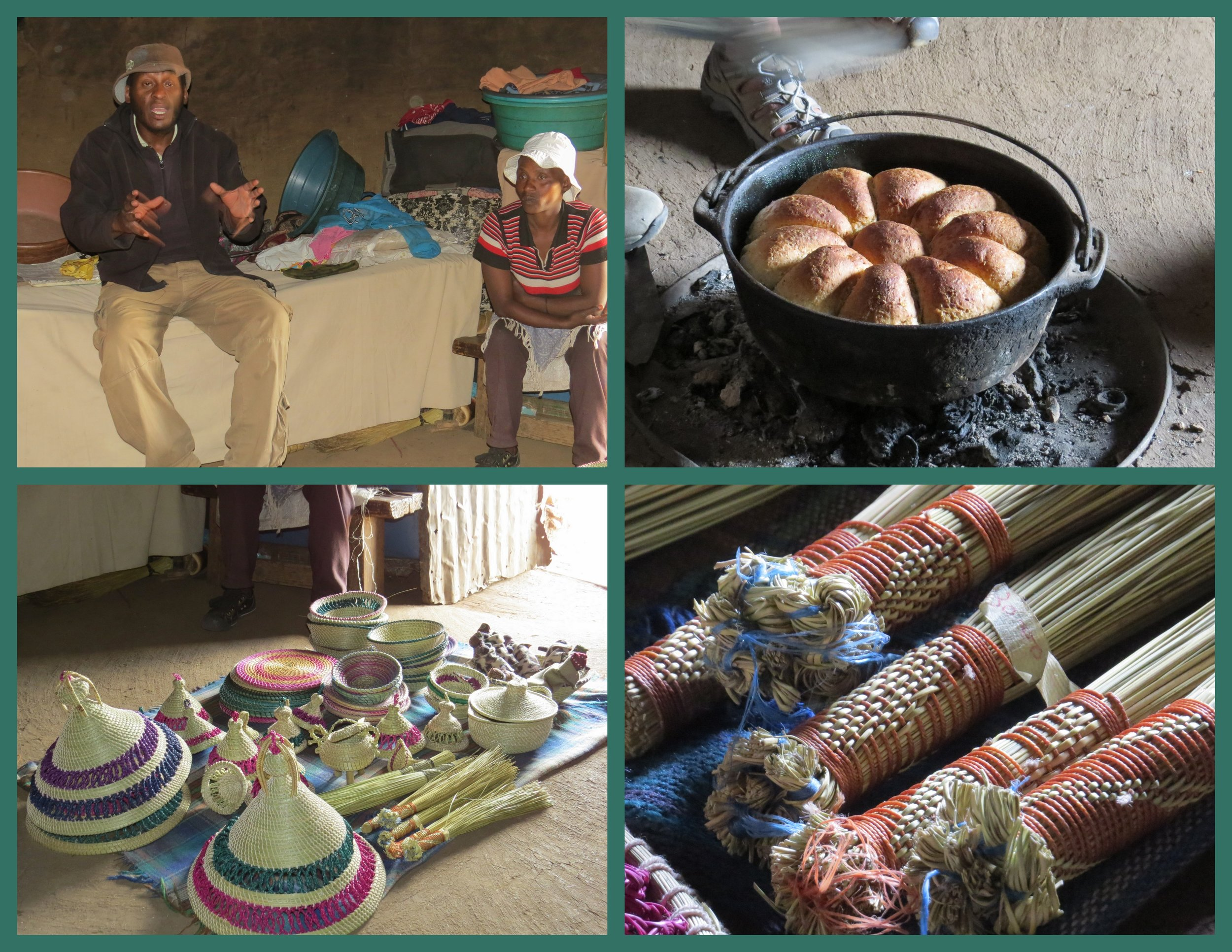 A morning snack and handmade crafts inMe Fitelena's hut.