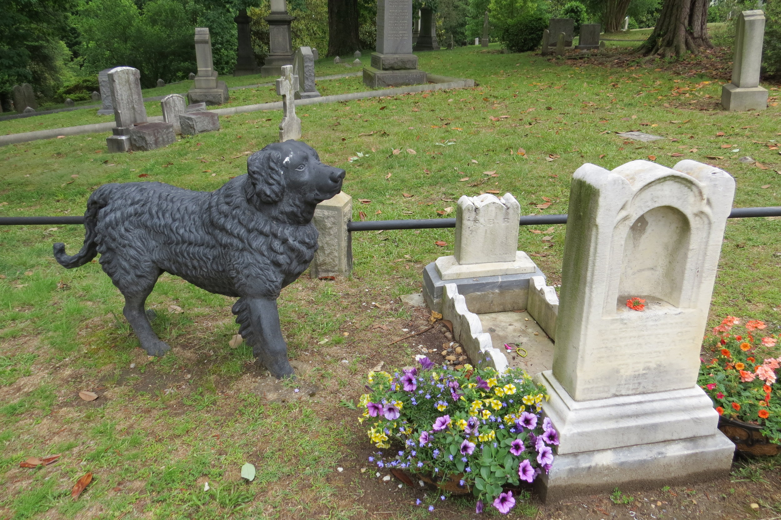 "The most touching marker was the faithful ""Iron Dog"" standing sentry over a child's grave."