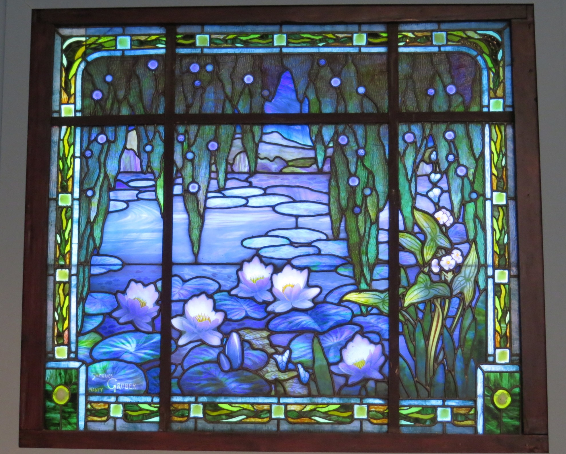 "Jacques Gruber ""Waterlilies"" stained glass"