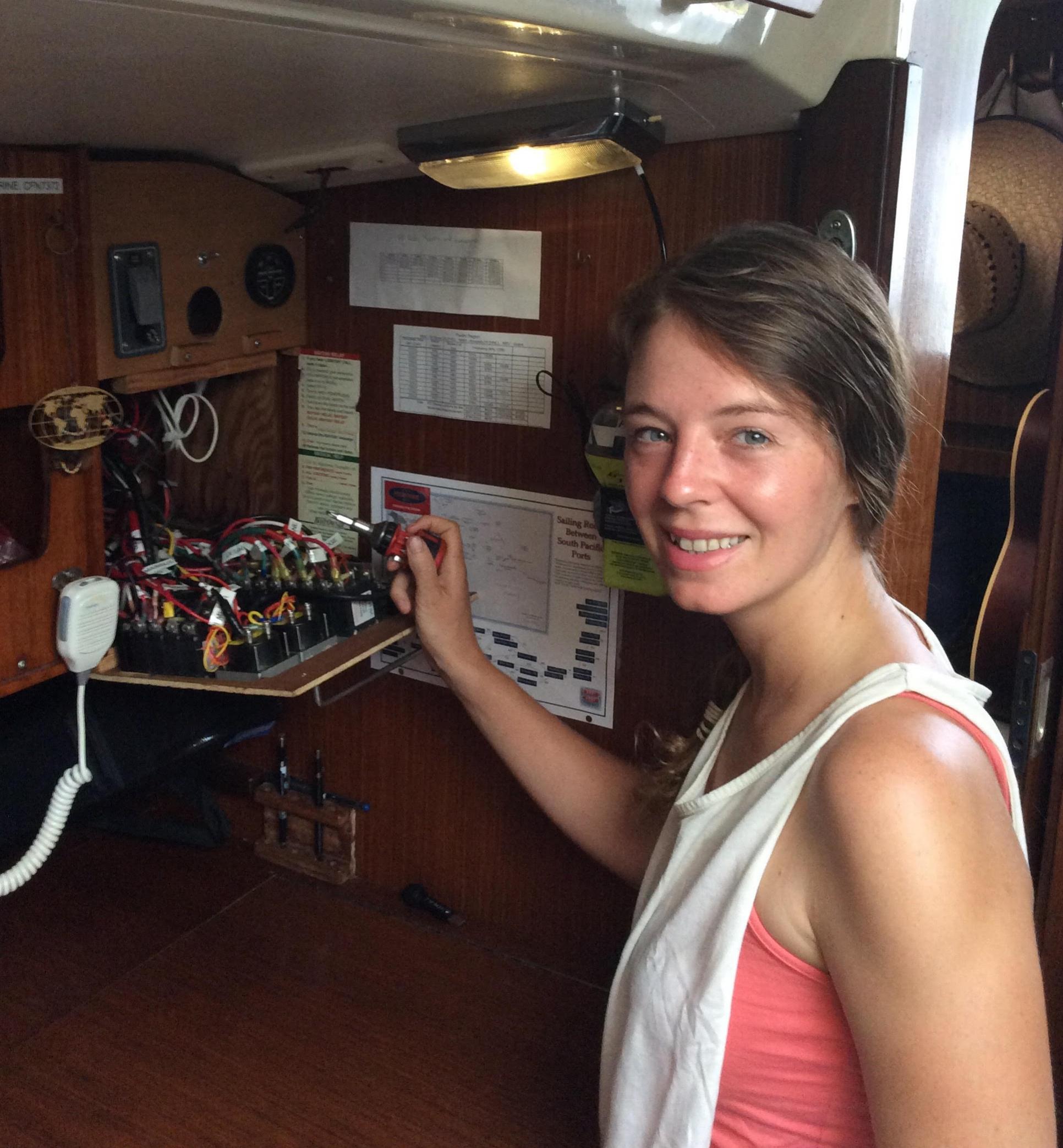 DC Darling, Fiona McGlynn shows off her electrical handiwork aboard MonArk.