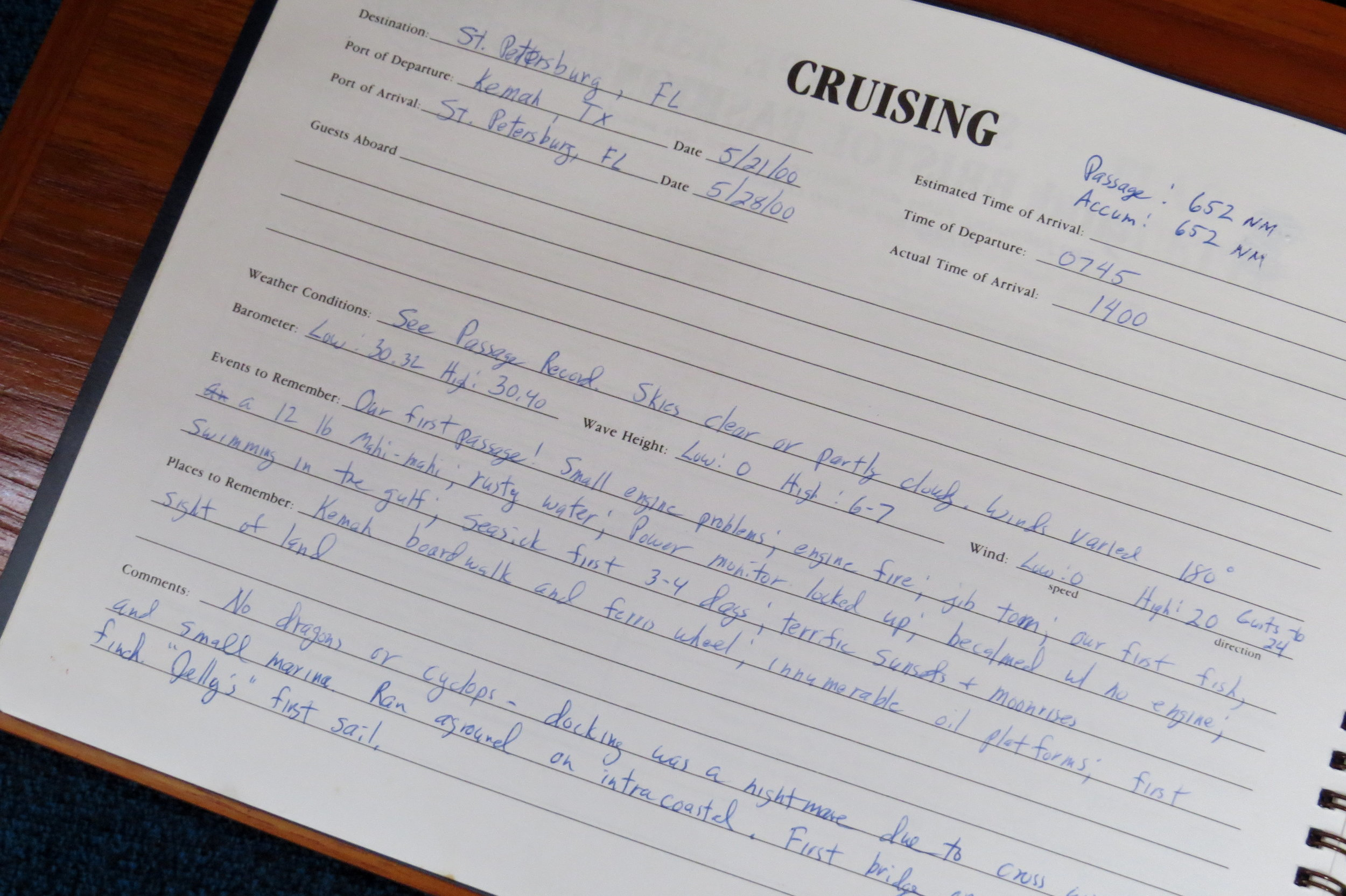 First passage notes indicate the trip across the Gulf of Mexico had its adrenaline moments!