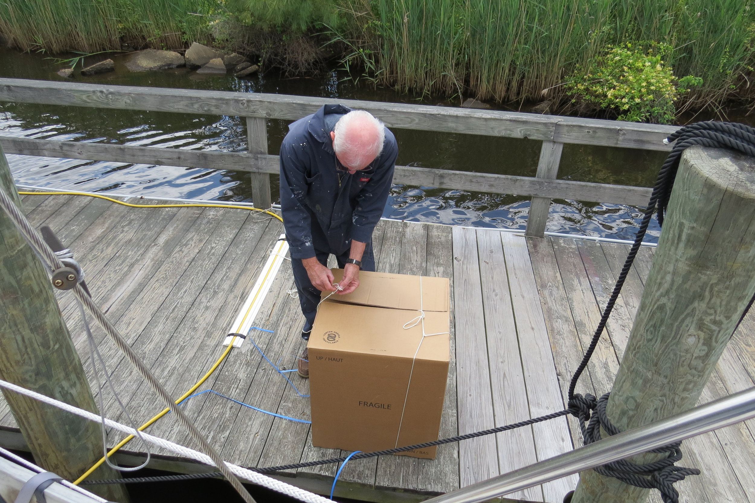 Getting the stove from the dock to the galley was a challenge.