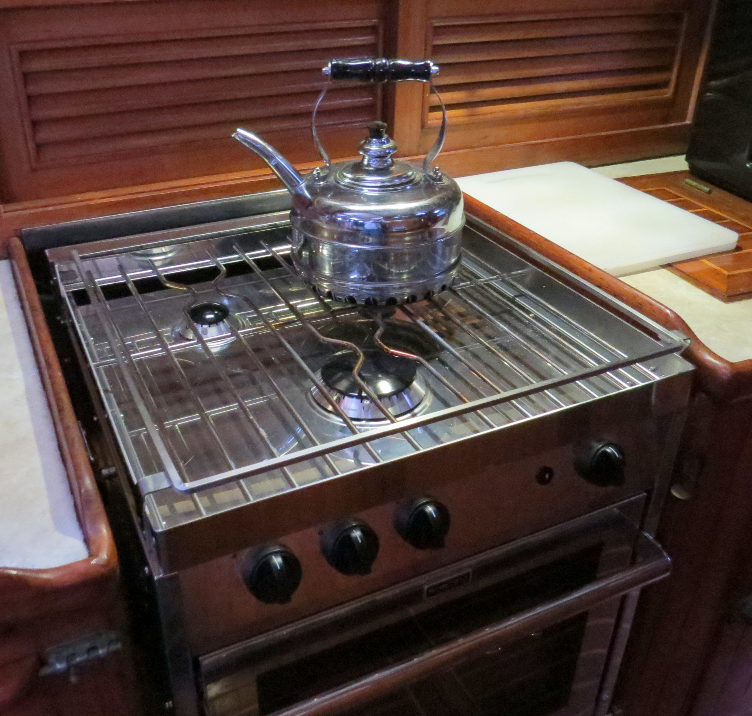 A new galley stove ... all shiny and bright.