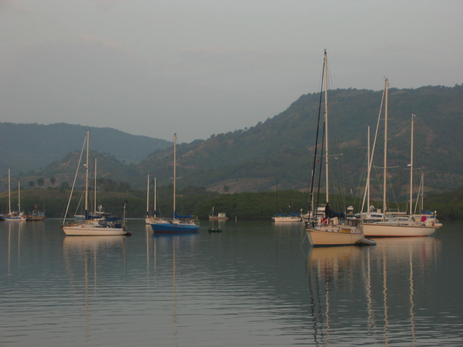 Hazy, hot morning in the anchorage at Luperón, Dominican Republic