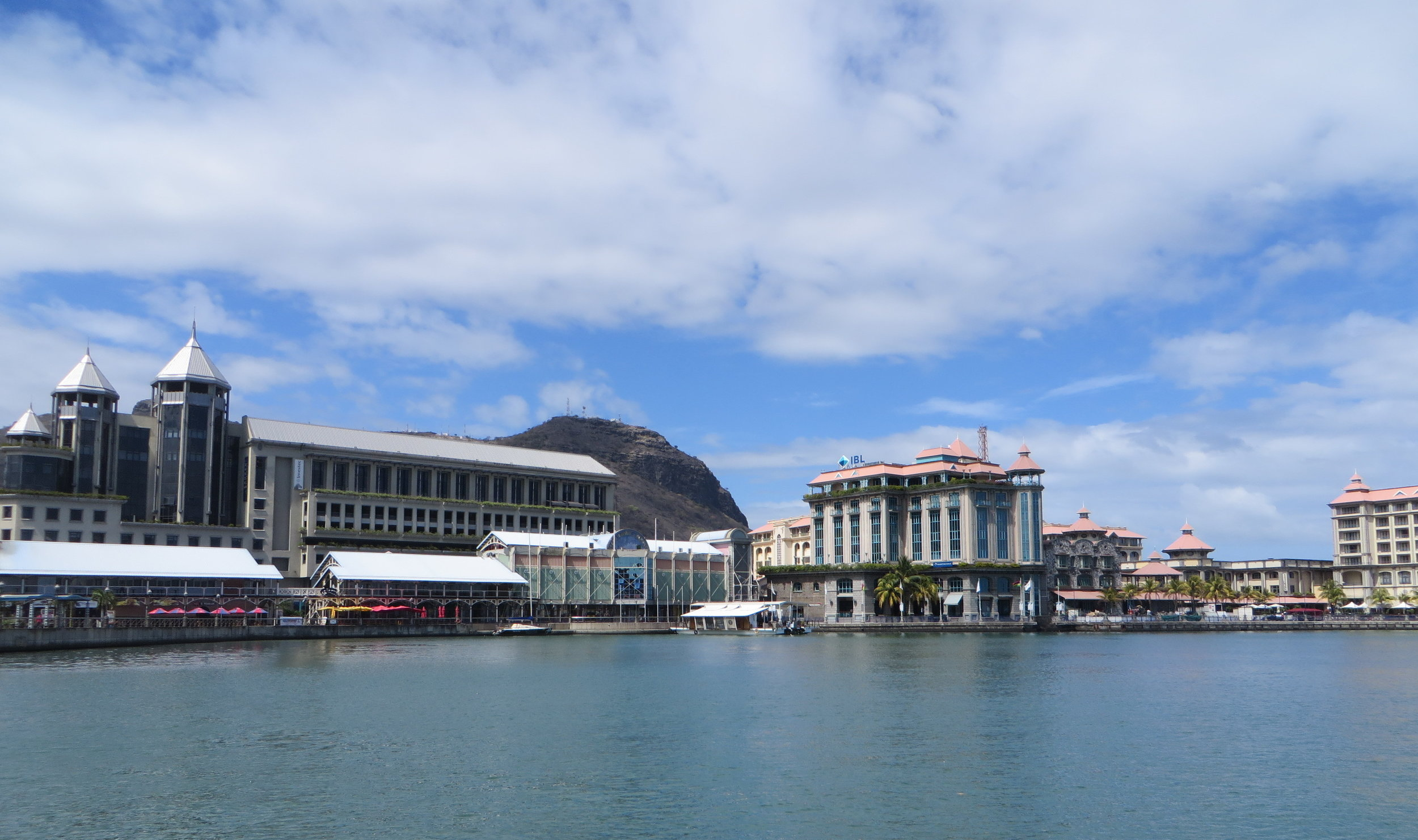 A view of the Port Louis Promenade as we arrived. Welcome to Mauritius.
