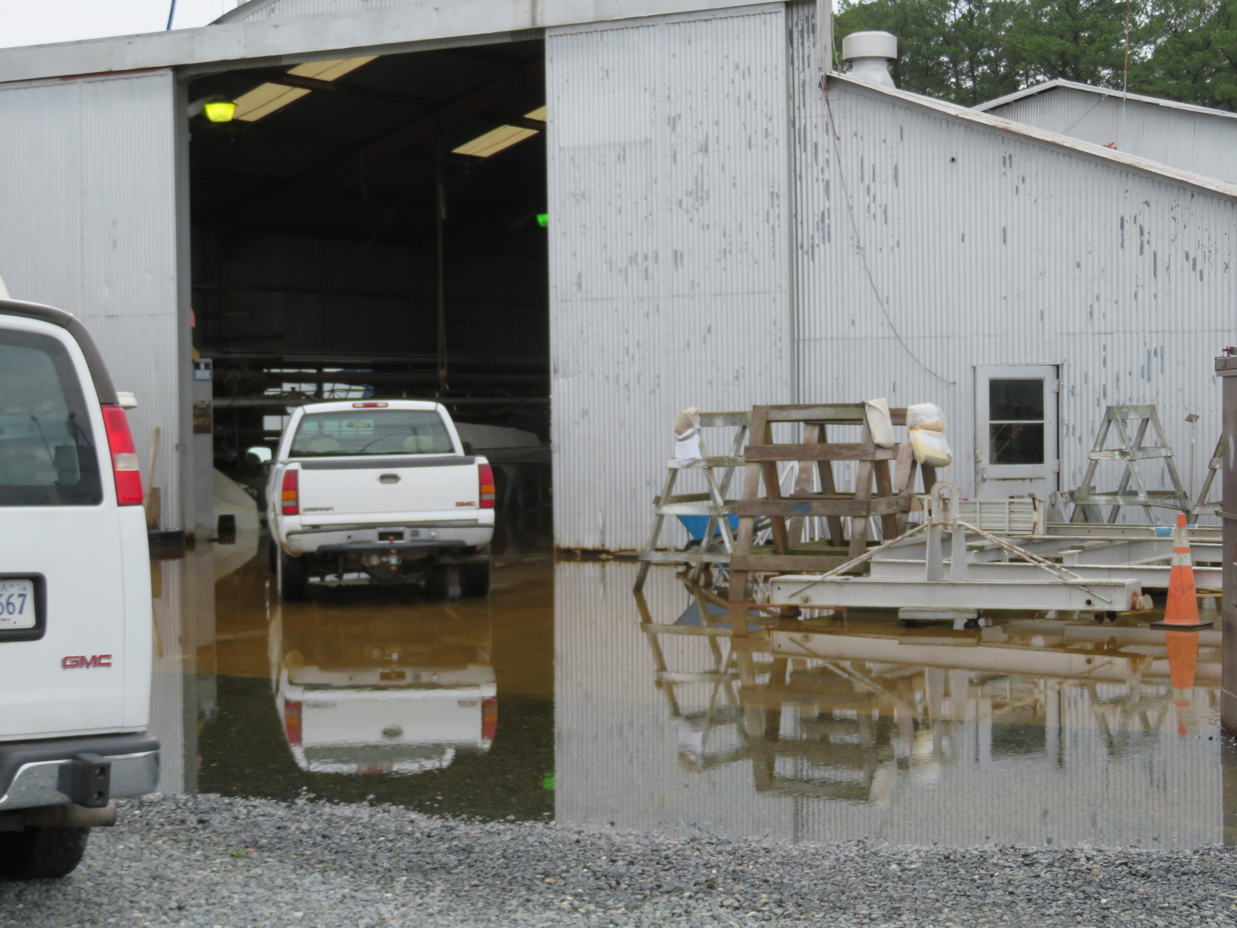 It's been wet and rainy in Chesapeake and part of the boatyard remains flooded.