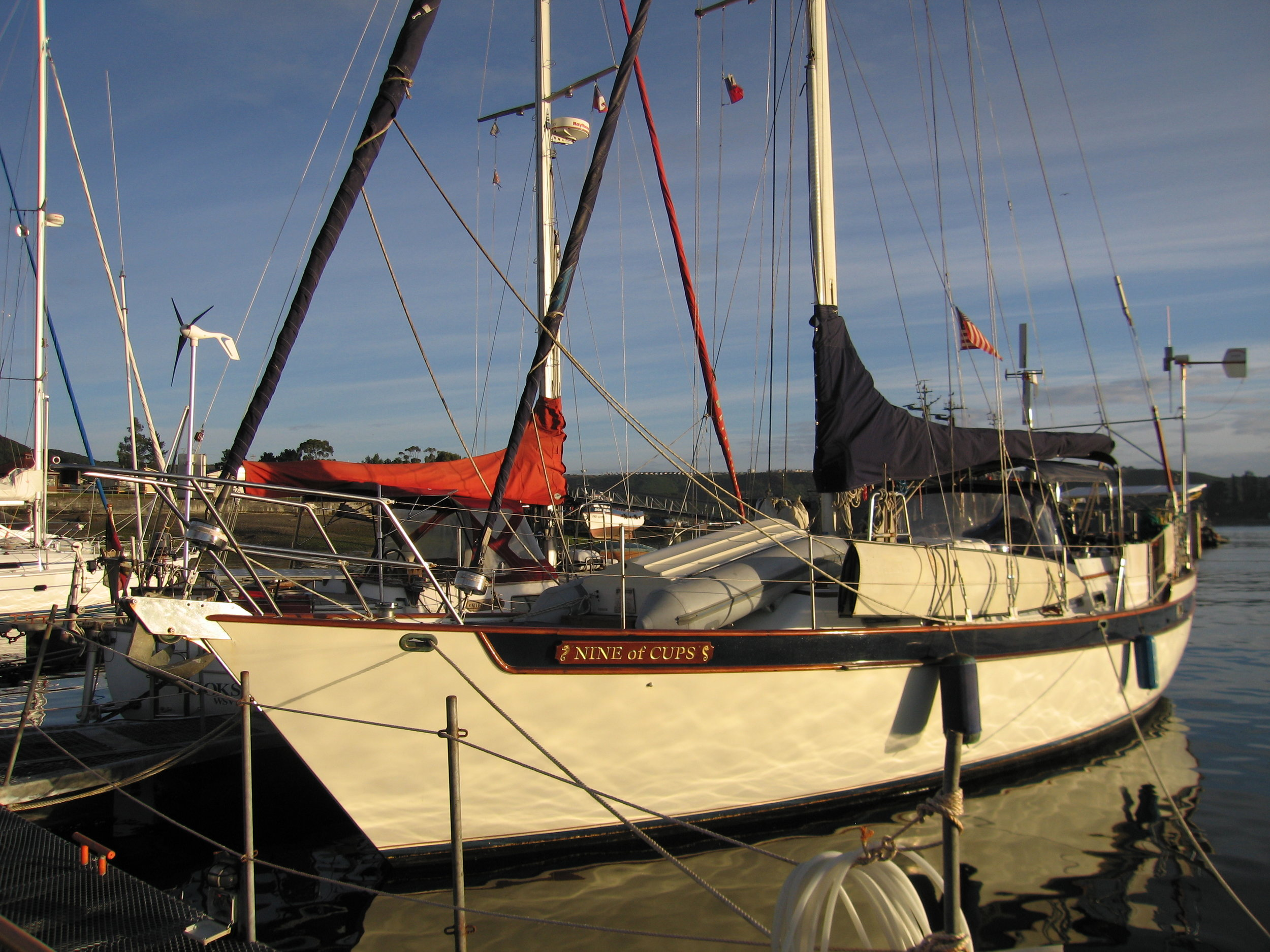 Nine of Cups berthed at Club Nautico in Puerto Montt, Chile