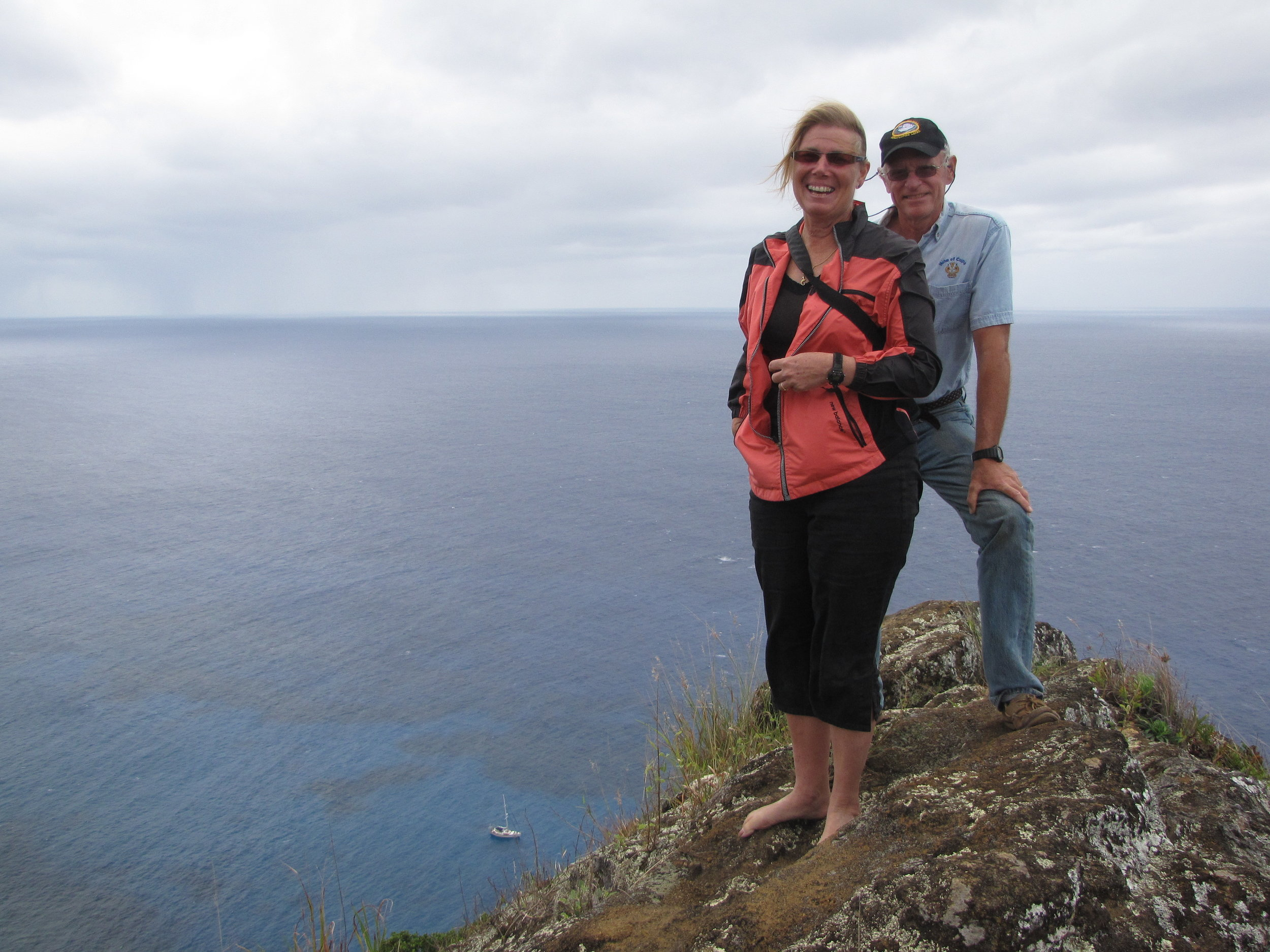 Way up high on Pitcairn Island ... that's Cups anchored far below!