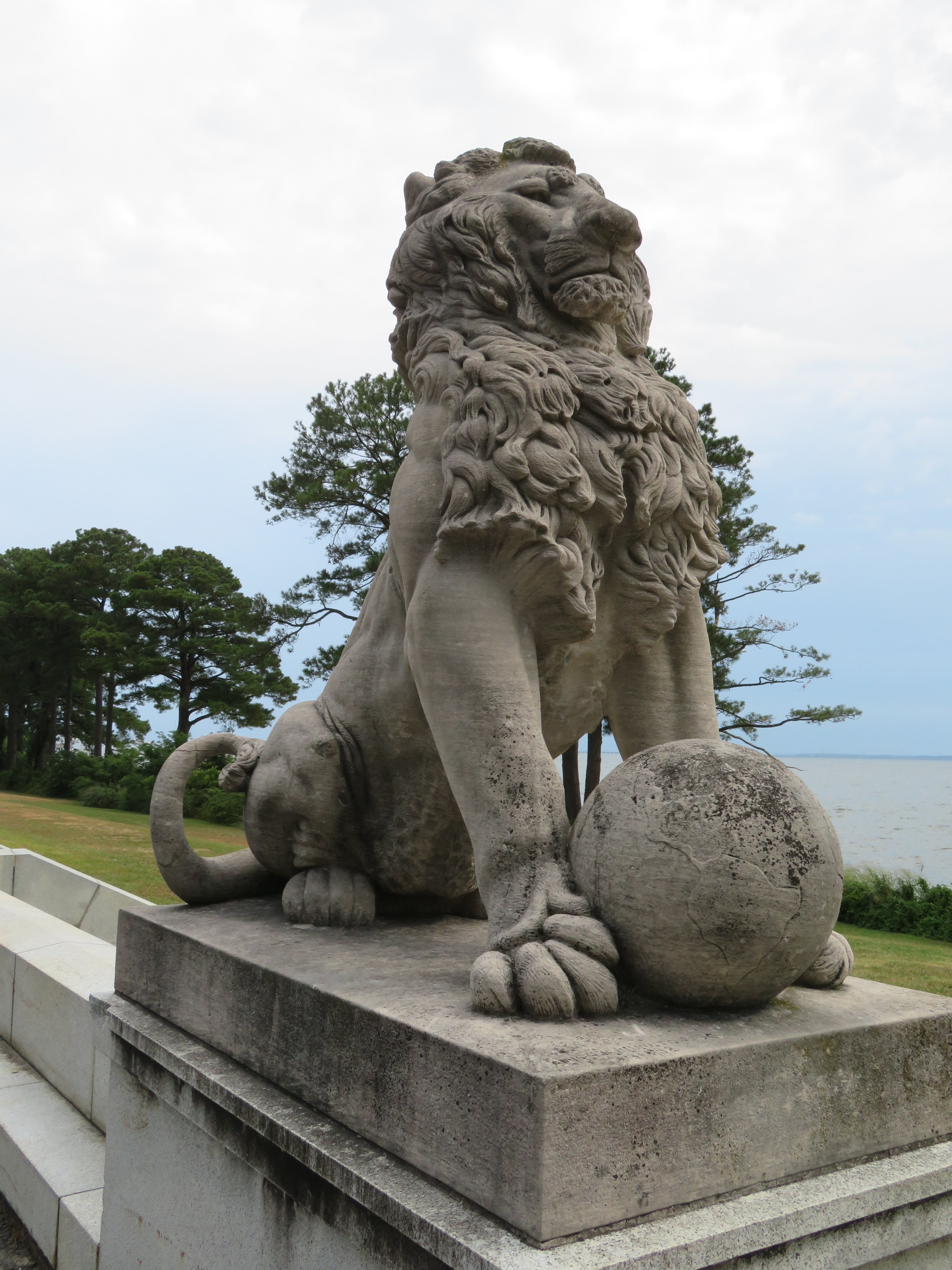 These lions are serious sentries!