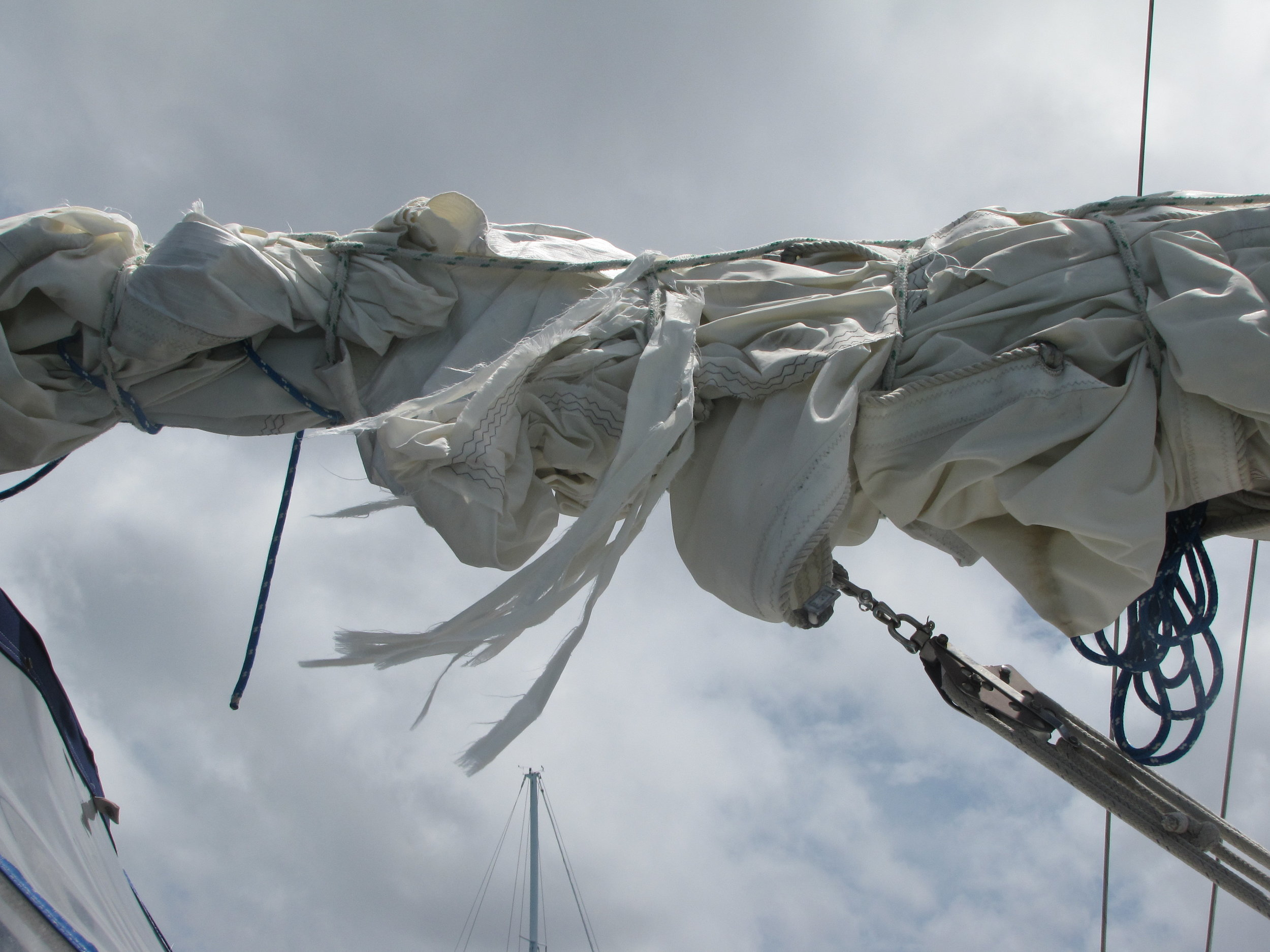 The mainsail in tatters.