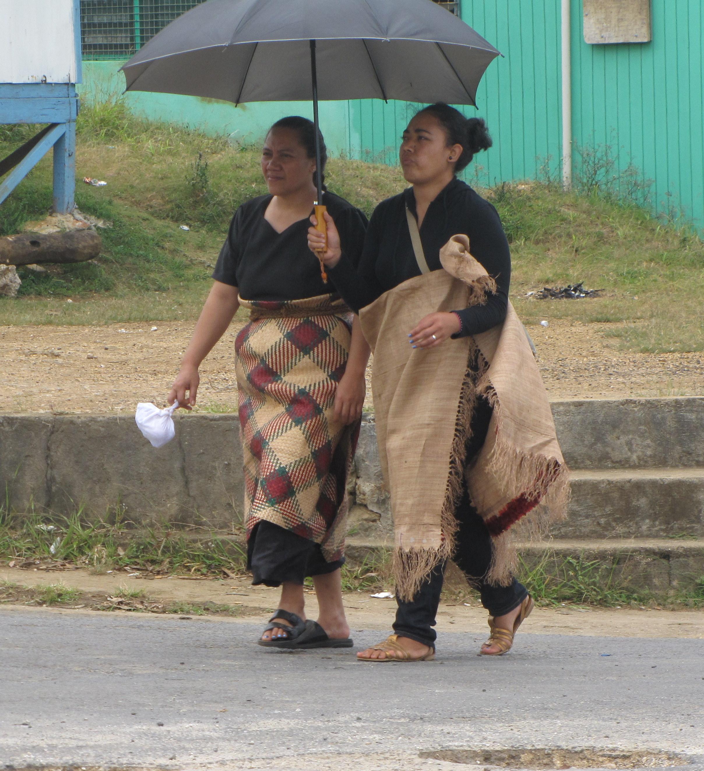 Tongan ladies in traditional dress.