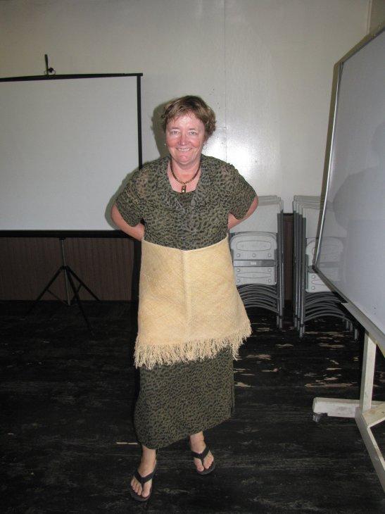 Mary models traditional Tongan garb