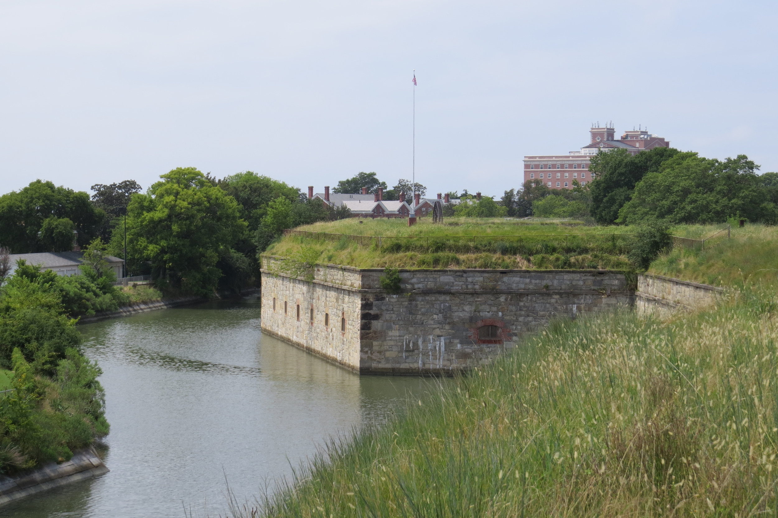 A seven-sided star fort surrounded by a moat, Fort Monroe has been active from 1823-2011.