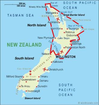 Nine of Cups' 2009-2010 route around the North Island