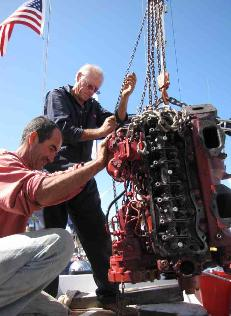 David & Ian remove old engine from Cups.