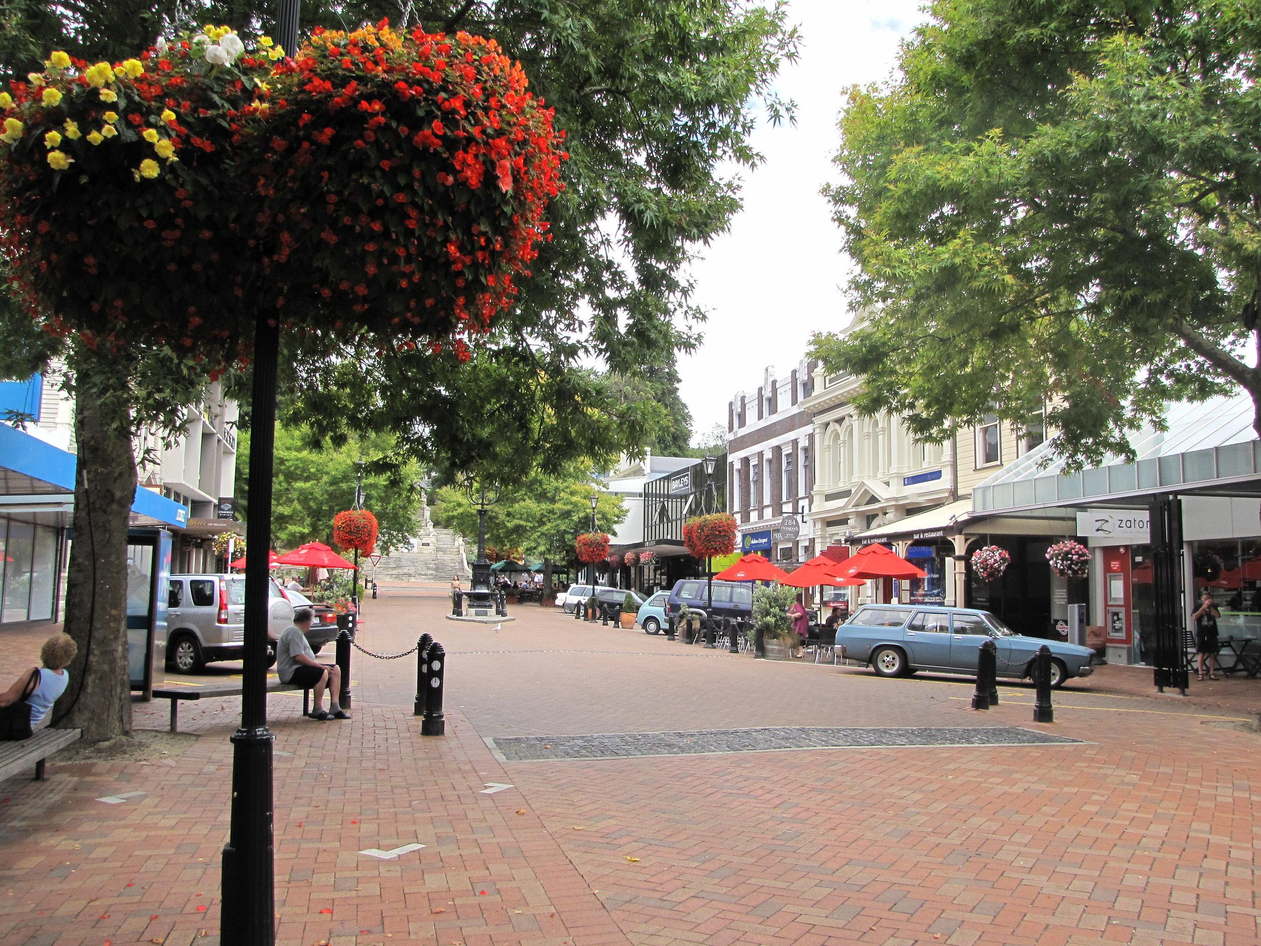 Trafalgar Street in downtown Nelson.