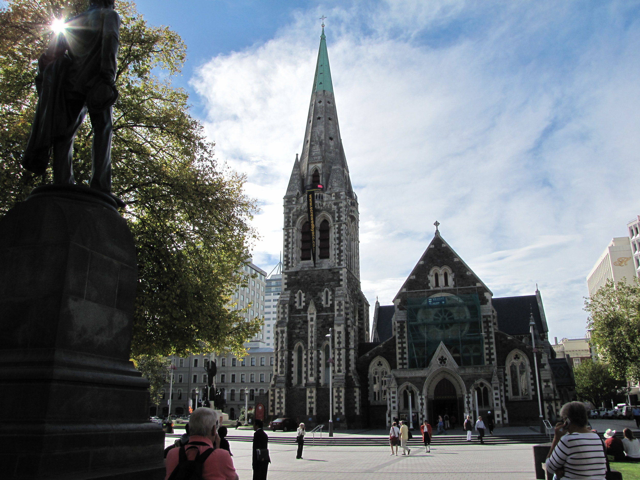 Christchurch Cathedral before it was severely damaged in the earthquake of February 2011.