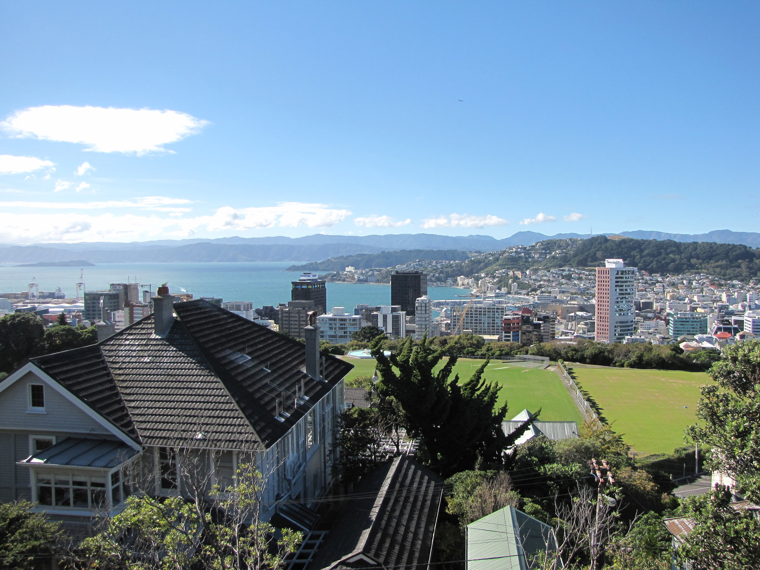 City view of windy Wellington