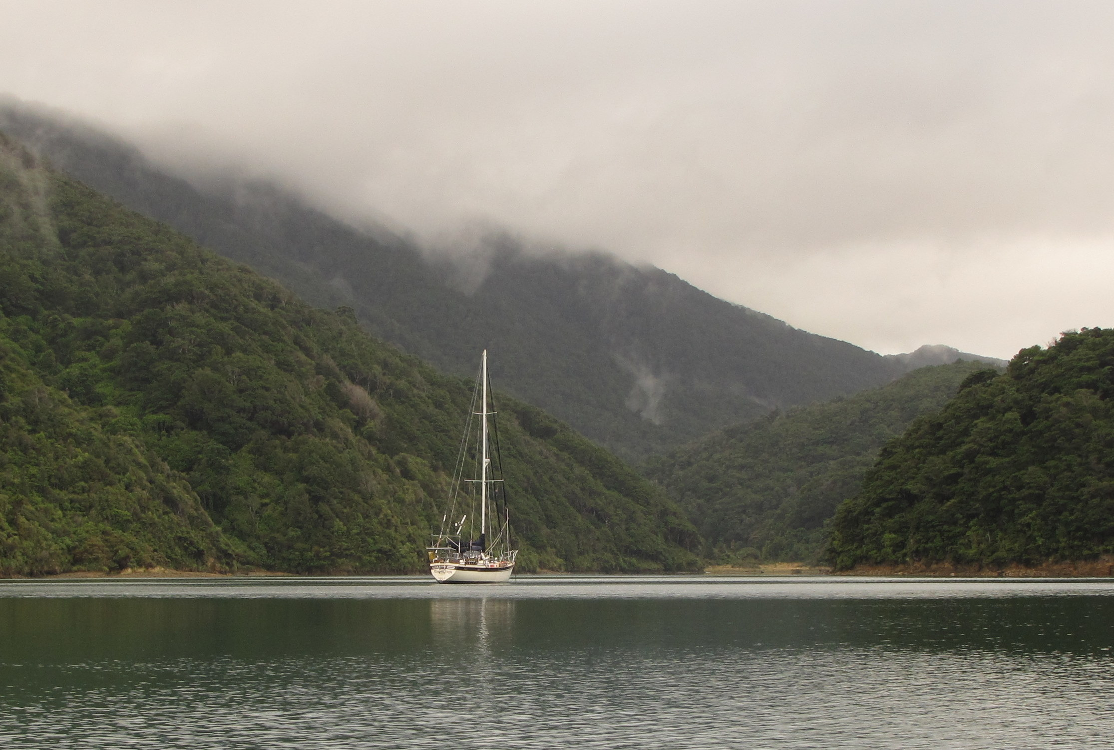 Early morning mist in an isolated, protected anchorage off D'Urville Island in the Marlborough Sounds.