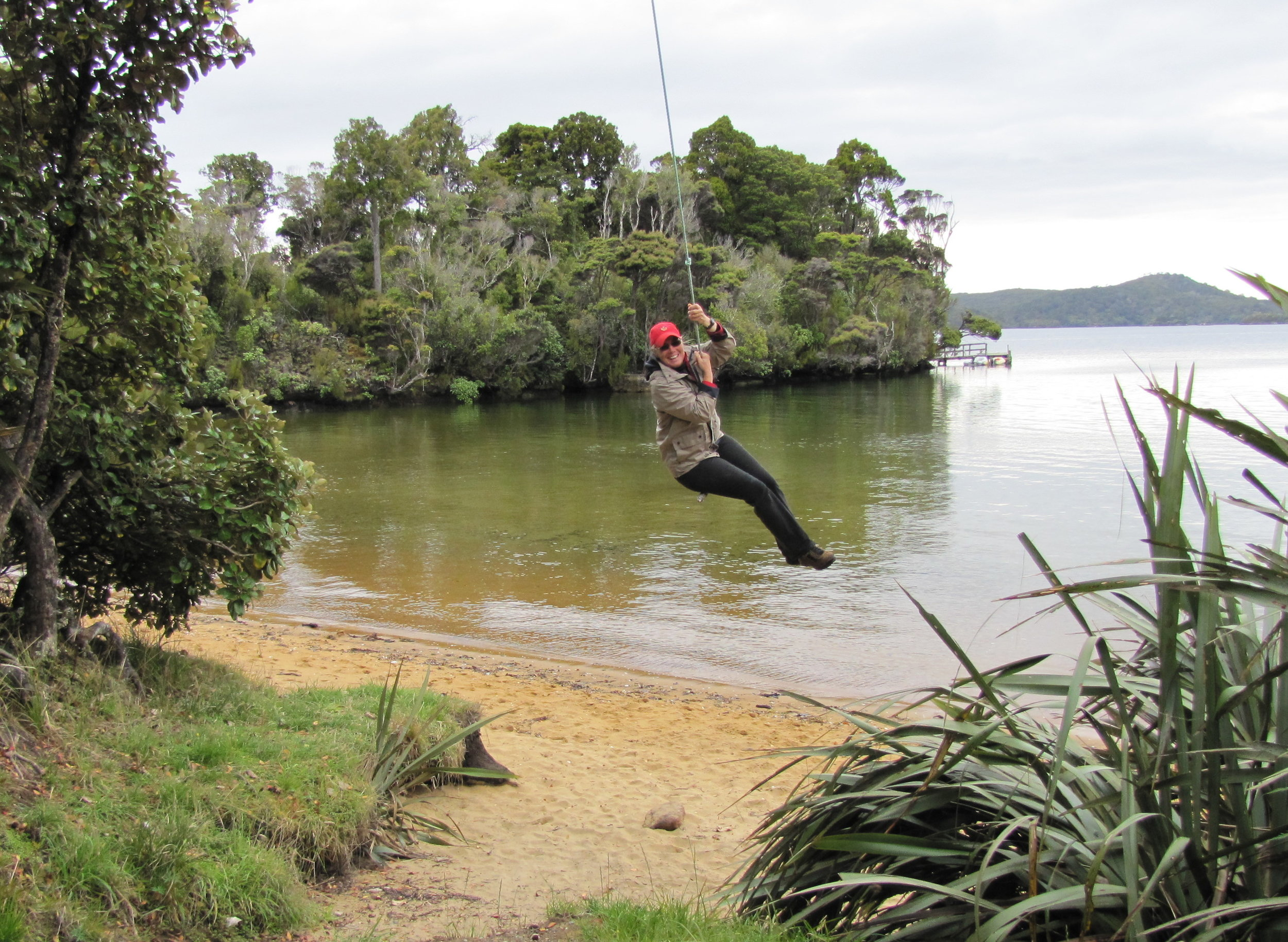 Swinging out over the water
