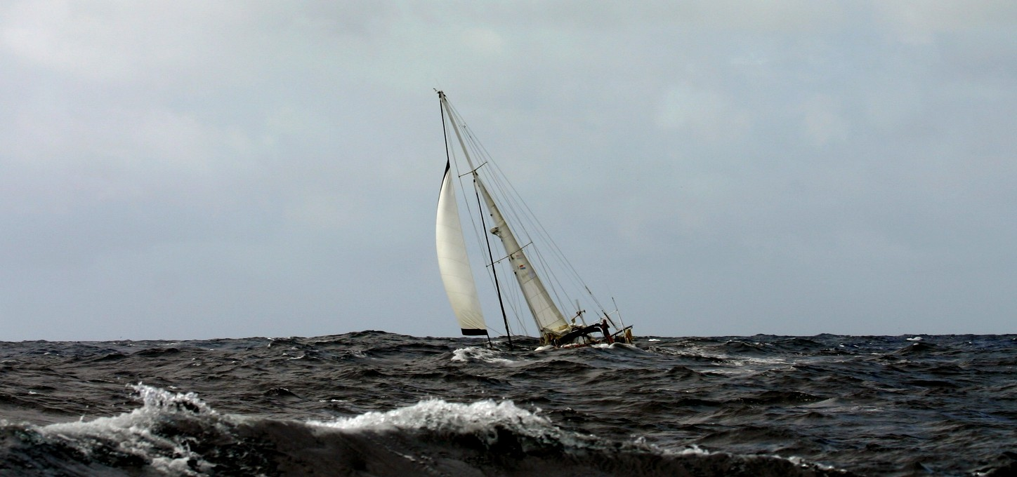 The trip to Niue was quick with fresh winds and 3-4M seas. Photo:  Kiki Herz, s/y  Kaori  as the 125' super sailing yacht screamed past us en route from Suwarrow to Niue.
