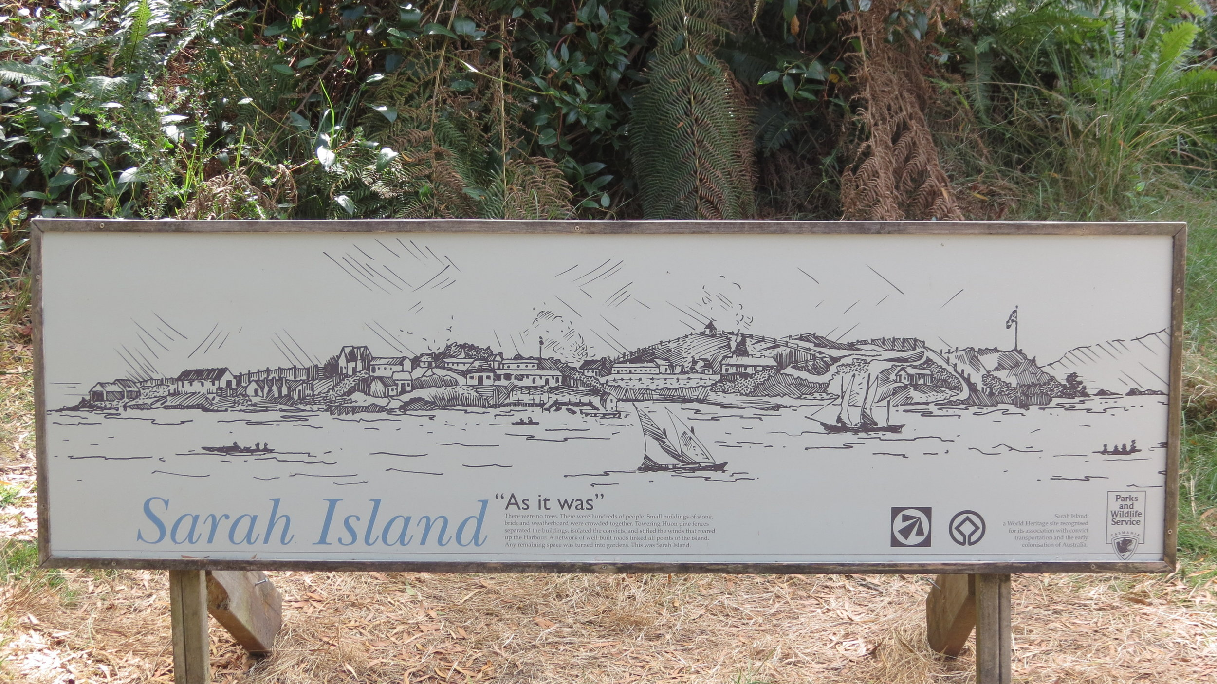 Sarah's Island welcome sign