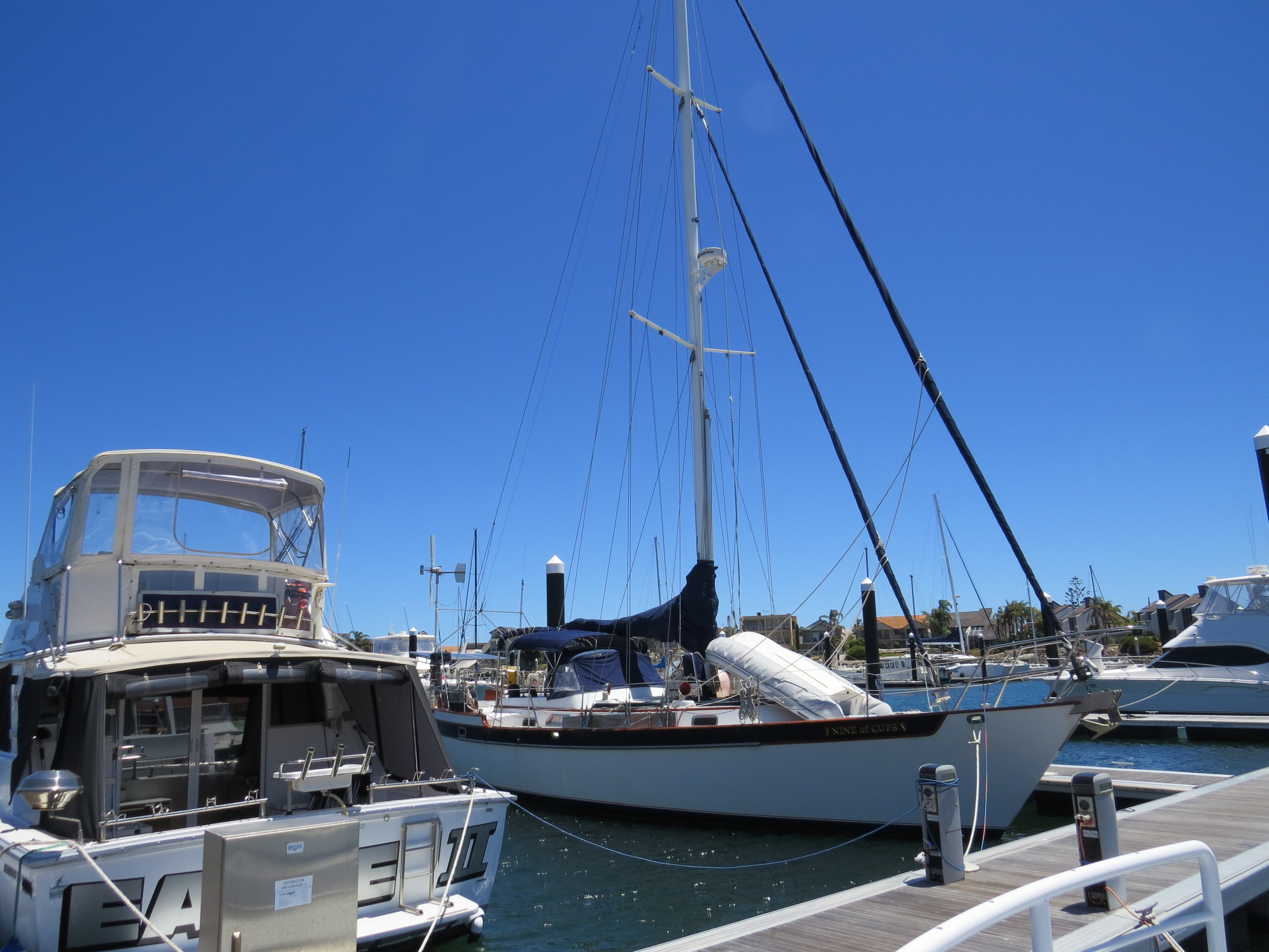 Nine of Cups waited patiently for our return to the Crown Marina near Port Adelaide, South Australia