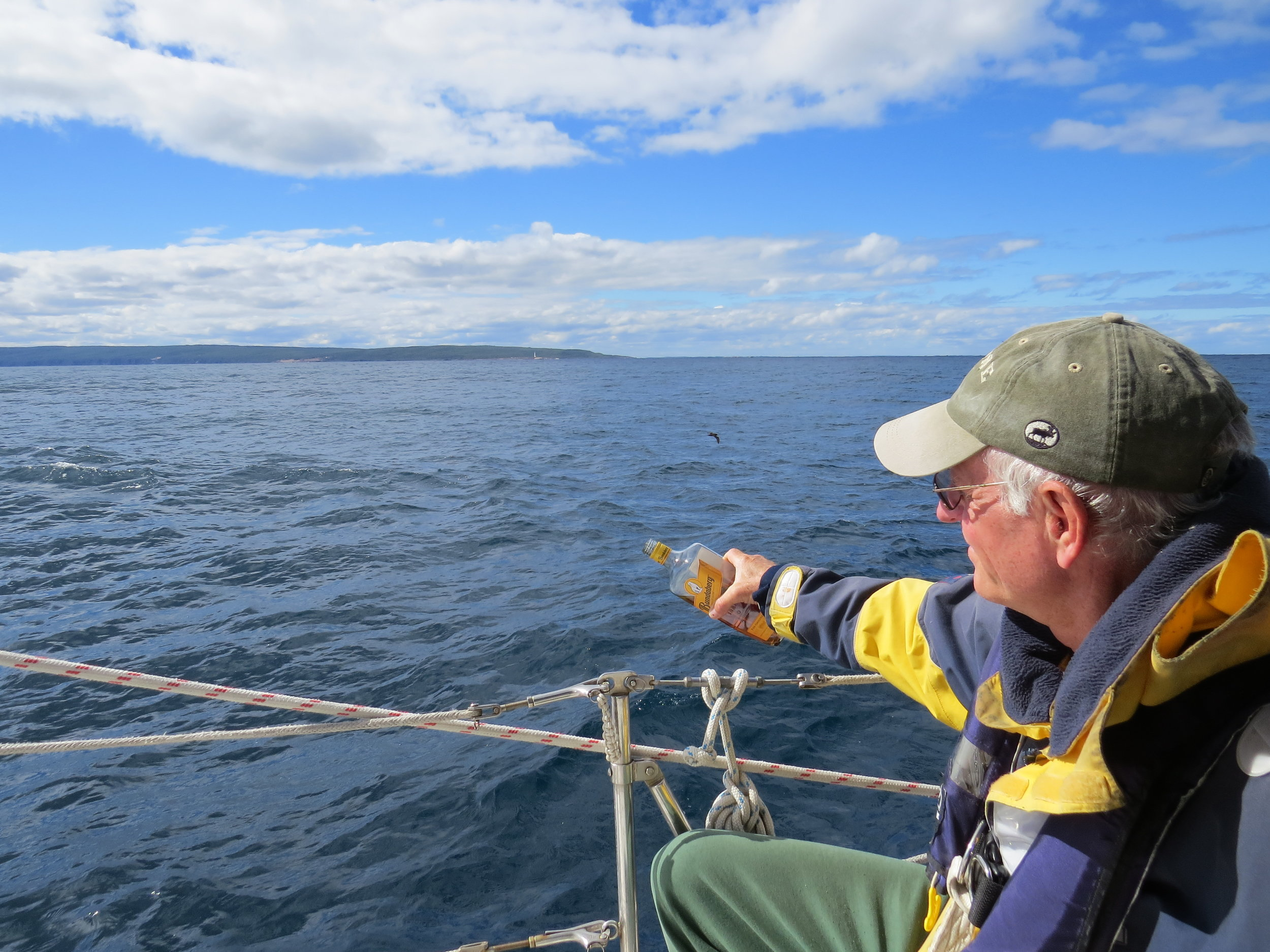 A tot of rum to Neptune as we round Cape Leeuwin ... fourth of the five great southern capes.