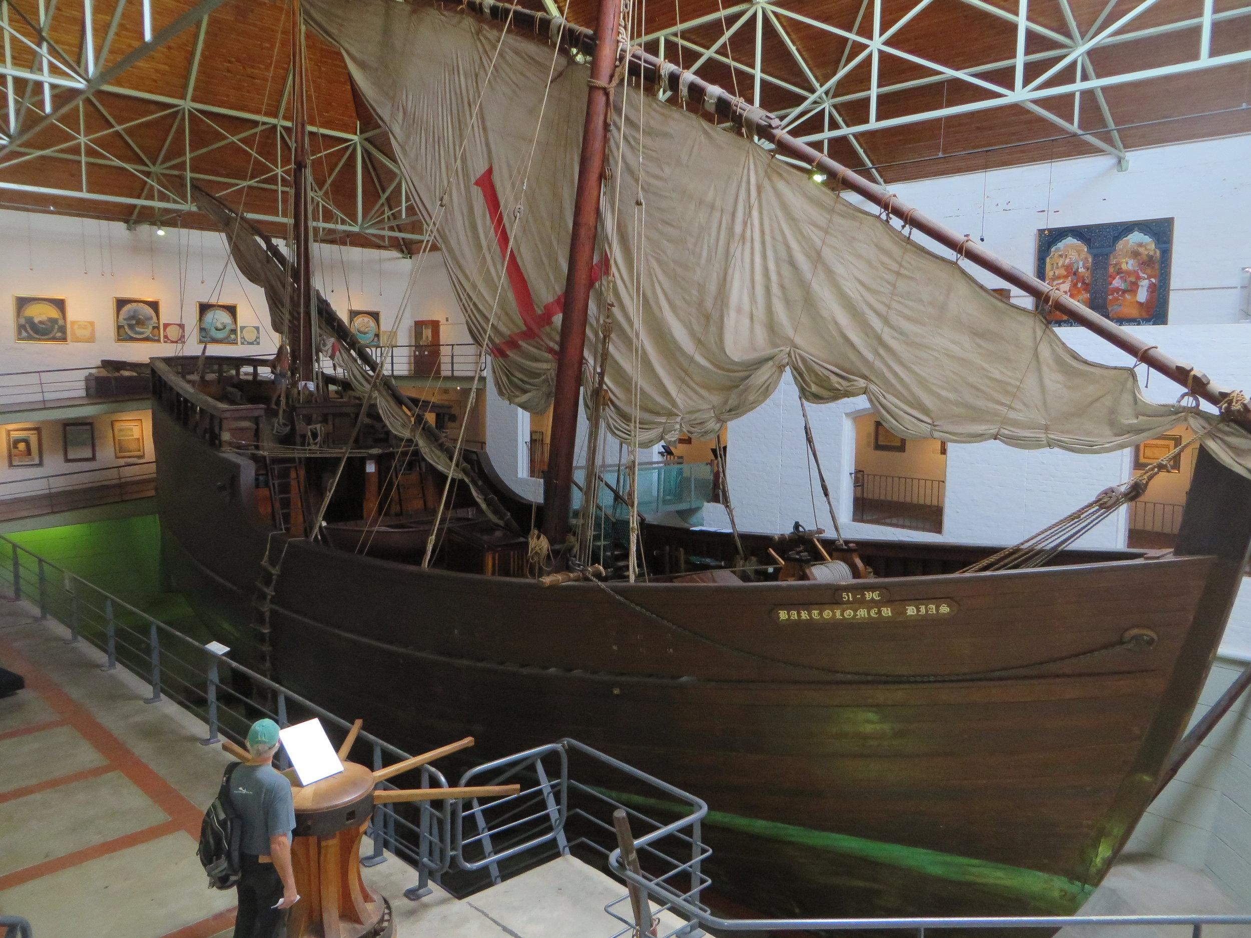 A full size replica of Bartolomew Dias' caravel on display at the Dias Museum
