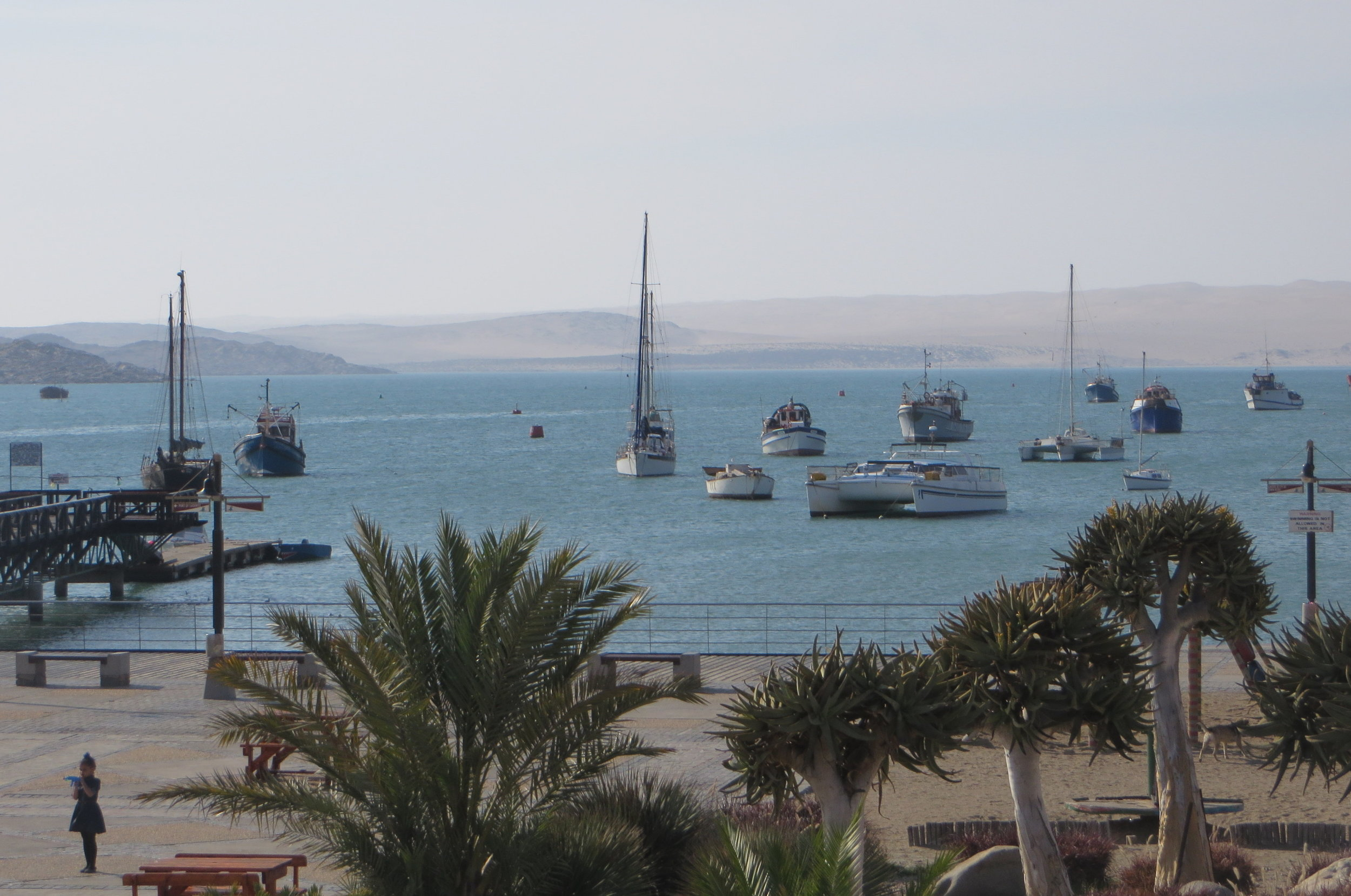 Lüderitz anchorage with the waterfront park in the foreground.